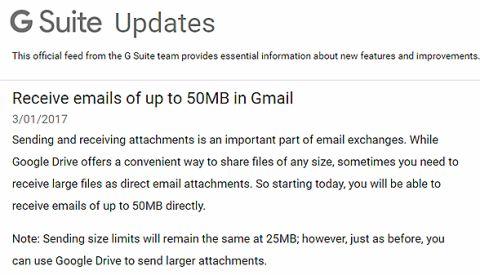 Gmail 50MBへ