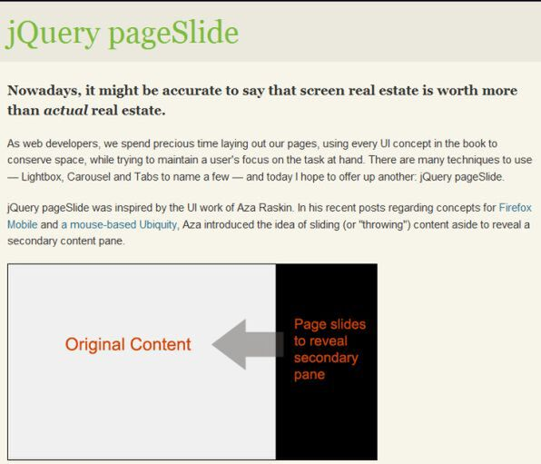 jQuery pageSlide