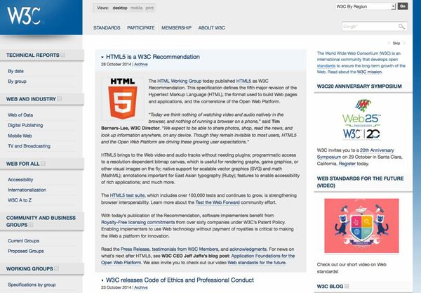 HTML5がW3C勧告に、15年ぶりの大改訂