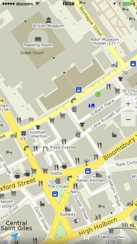 「maps.me」でロンドンの大英博物館付近を表示させたところ。十分な情報量だ