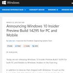Windows 10「ビルド14295」がPCと携帯端末で同時リリース