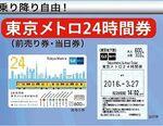 東京メトロ、一日乗車券を「使用開始から24時間」有効に