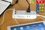 USB充電ポート4個搭載、急速充電OKのスマートOAタップ
