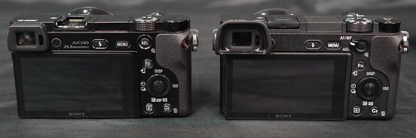 本体背面。左がα6000、右がα6300。AEL切り替えがスイッチになっているほか、全体の質感も変わっている