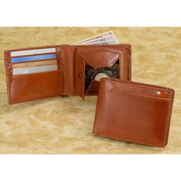 計21個のポケットを装備した収納力抜群のイタリアンレザー二つ折り財布