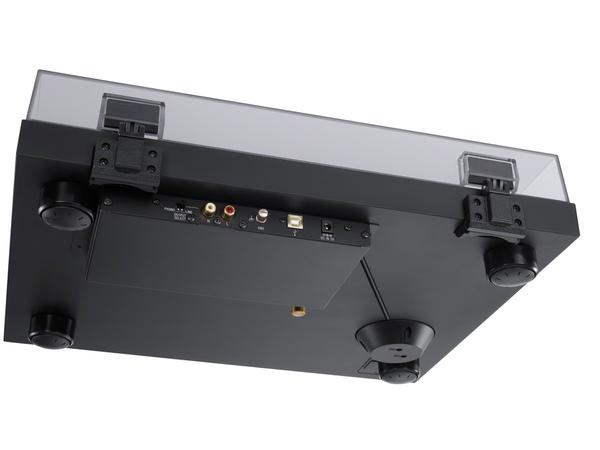 本体下部。底面はMDFボードを採用し、インシュレーターも独特のものを使用する