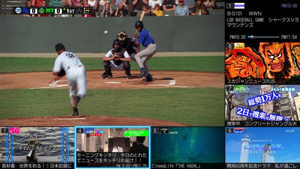 「まるごとチャンネル」は画面左と下に裏番組のサムネイルを表示する機能
