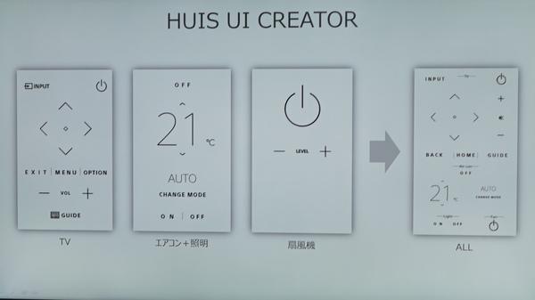 「HUIS UI CREATOR」では、複数の機器の機能(ボタン)を1画面にまとめることができる