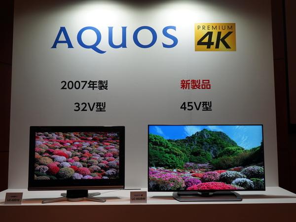 会場で展示されていた、2007年発売の32V型テレビとLC-45US40。本体サイズ感は変わらない
