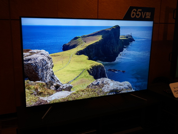 65V型の4Kテレビも参考展示されていた