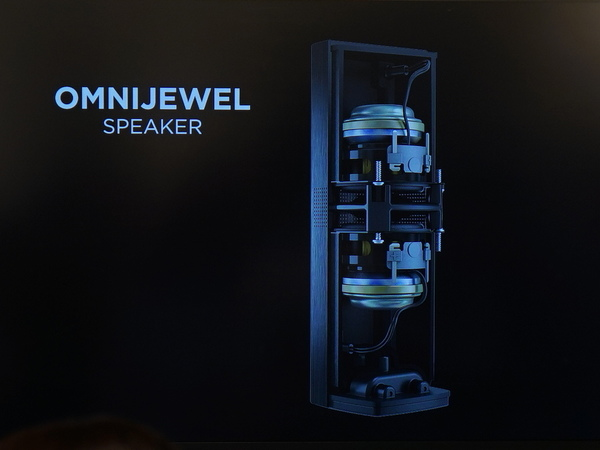 OmniJewelの内部構造。上下にスピーカーが向かい合っている