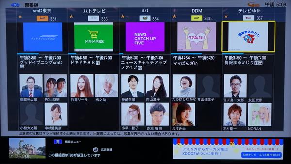 裏番組表示機能。出演者の顔写真が表示される