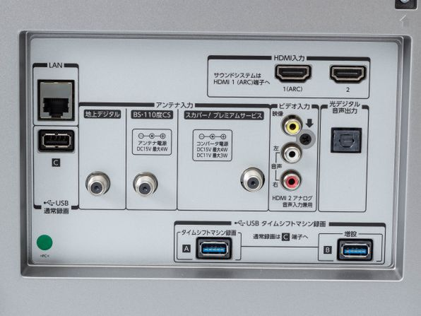 65X910の背面の接続端子。HDMI入力2系統のほか、アンテナ入力端子、録画用USB端子などがある