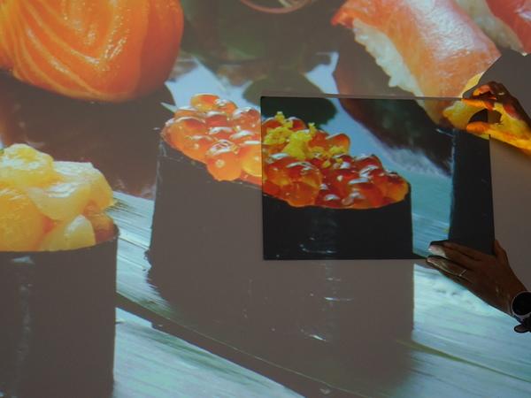 蛍光灯の下、壁に投影しているが、一部遮光スクリーンの素材を手に持っている。やはり鮮やかさが違う