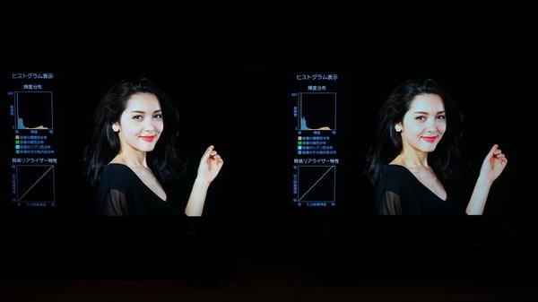 左がBZ710X。右は我が家の現行のテレビ(Z700X)。BZ710Xは周囲の黒が締まっており、人肌も白とびがない。個人的に、悔しい