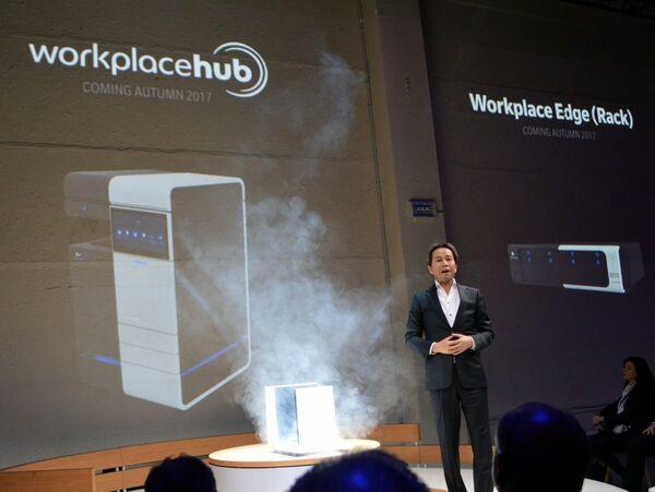 コニカミノルタ、複合機とサーバーとAIを一体化した「Workplace Hub」を発表