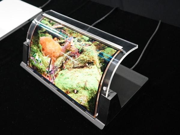 参考展示の12.2インチ フルHDフレキシブルパネル。曲げることができる