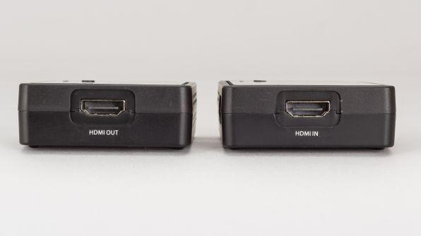 送信側にHDMI入力、受信側にHDMI出力を搭載。最大50mの距離をワイヤレス伝送できる
