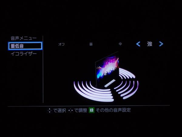 リモコンの「重低音」ボタンを押すと調整メニューが表われる