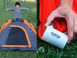 誰でも簡単に設営できるワンタッチテントと自動空気入れが1万円台