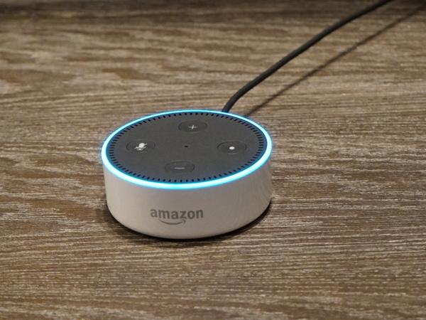 もっとも小型の「Echo Dot」。スピーカーを内蔵するが、外付けスピーカーも接続できる