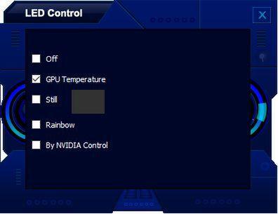 LEDの光り方はGPUの温度によって色が変わる「GPU Temperature」、常時指定した色で点灯する「Still」、虹色に光る「Rainbow」、GeForce ExperienceからLEDを制御する「By NVIDIA Control」の5通りが用意されている