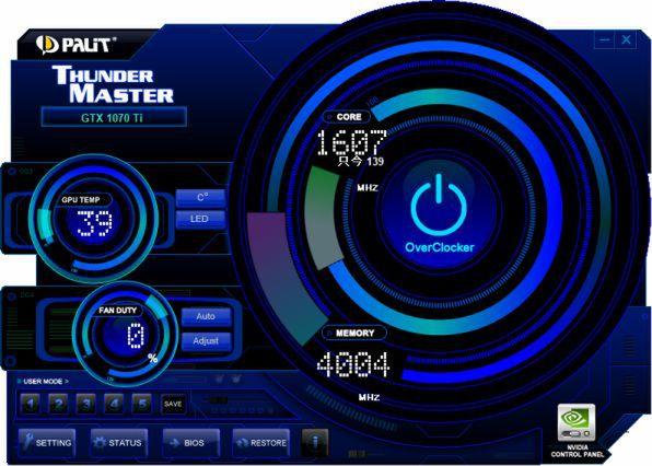 Thunder Masterのメイン画面。左側にはGPUコアの温度とファンの回転する、画面中央上側にGPUコアのクロックが、下側にメモリークロックがそれぞれ表示される。また、右側中央のOverClockerというアイコンをクリックするとオーバークロック関連の設定項目が表示される