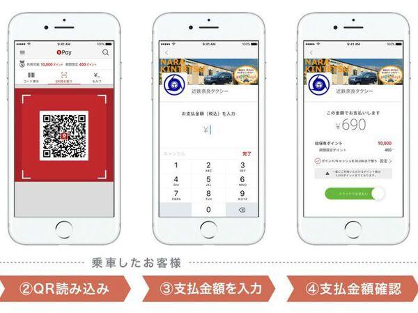 楽天ペイが奈良近鉄タクシー309台で利用可能に