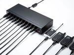 USB機器10台をスマートに充電できるUSB充電器、サンワサプライより