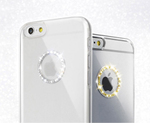 Appleロゴを囲むラインストーンのリングが美しいiPhone 6用クリアーケース