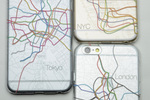 世界3都市の地下鉄路線図や航空路線図が3DプリントされたiPhone6ケース