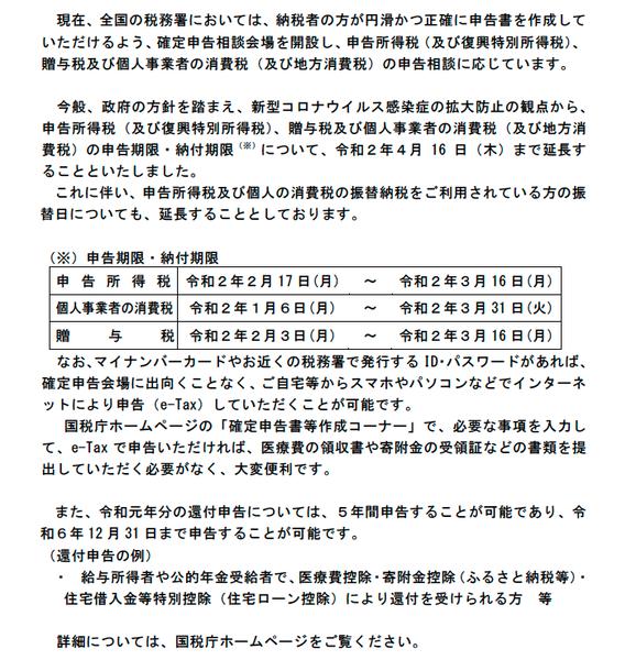 ホームページ 国税庁 確定 申告
