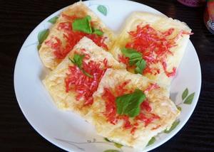 【簡単】桜えびのチーせん!スライスチーズをレンジでチン