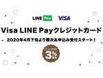 初年度3%還元のVisa LINE Payクレジットカード 4月下旬から順次受付開始