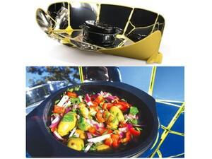 太陽光エネルギーで調理ができる折りたたみオーブンと鍋のセット