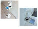 ポンプに触れることなく使えるフットペダル式消毒液スタンド「SFP-001」