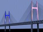 横浜ベイブリッジがブルーとピンクで鮮やかに。東京2020オリンピック・パラリンピック大会終了まで実施