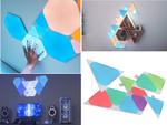三角形や六角形のパネルを組み合わせて部屋を未来的に演出、タッチ操作や音楽とシンクロ可能なスマートカラーLEDパネル「Nanoleaf Shapes」(6月下旬発売)