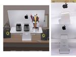 デスク周囲をスマートに有効活用できるiMac 21.5インチ専用背面アクリルスタンドが1980円