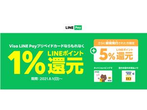 Visa LINE Payプリペイドカード、1%のLINEポイント還元を8月1日から開始